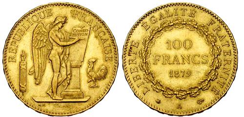 100 Francs or 1911 var tranche en relief Liberte Egalite Fraternite