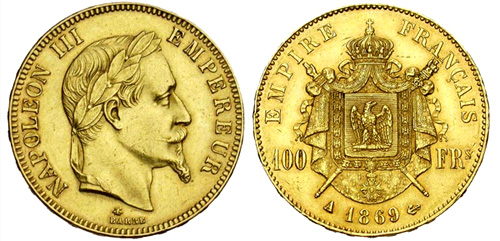 100 Francs or 1867 Napoleon III tete lauree
