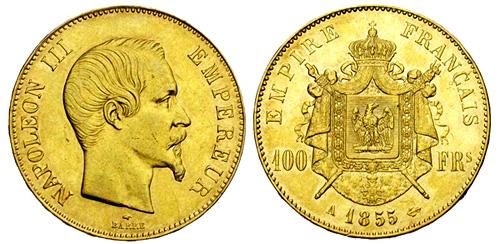 100 Francs or 1856 Napoleon III tete nue