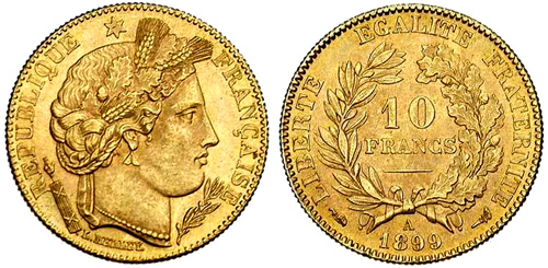 10 Francs or 1889 Ceres
