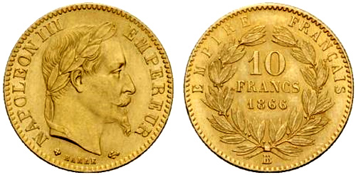 10 Francs or 1866 Napoleon III tete lauree