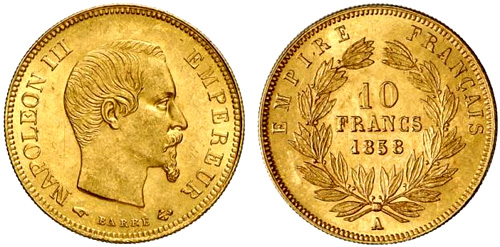 10 Francs or 1860 Napoleon III grand module