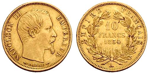 10 Francs or 1855 Napoleon III petit module