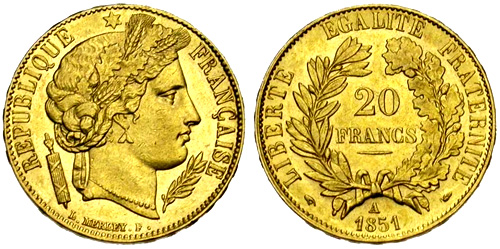 20 Francs or 1850 Ceres