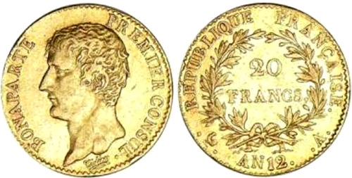 20 Francs or An 12 Bonaparte Premier Consul