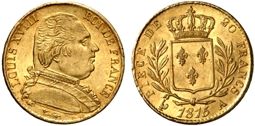 20 Francs or 1815 buste habille