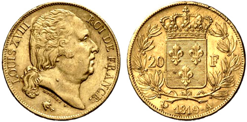 20 Francs or 1819 buste nu