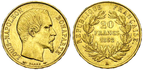 20 Francs or 1852 Louis Napoleon Bonaparte