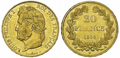 20 Francs or 1834 tete lauree