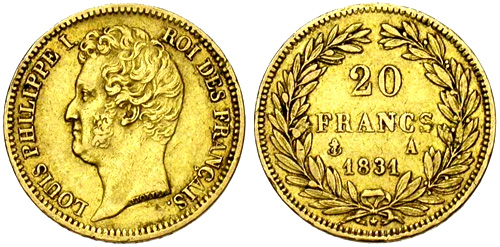 20 Francs or 1831 tranche en relief