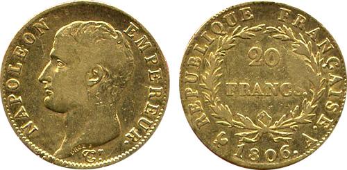 20 Francs or 1806 Napoleon Ier tete nue