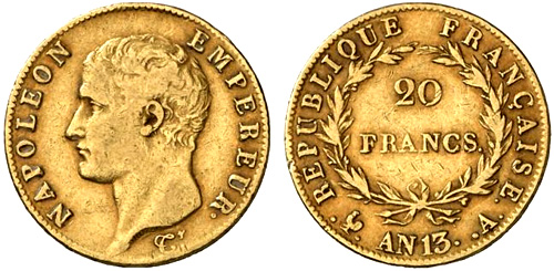 20 Francs or An 14 Napoleon Ier tete nue