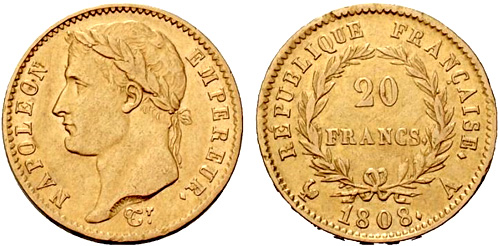 20 Francs or 1808 au revers REPUBLIQUE