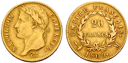 20 Francs or 1809 au revers EMPIRE