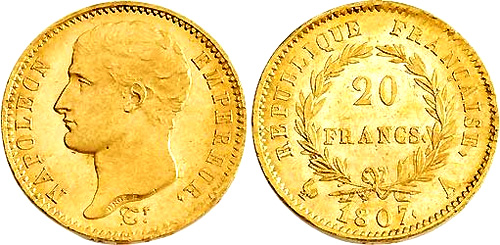 20 Francs or 1807 Type transitoire grosse tete