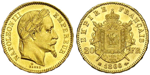 20 Francs or 1864 Napoleon III tete lauree