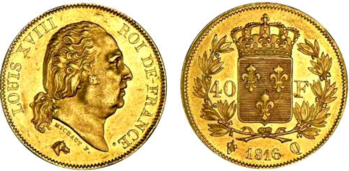 40 Francs or 1816 Louis XVIII