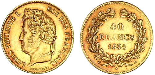 40 Francs or 1834 Louis Philippe I