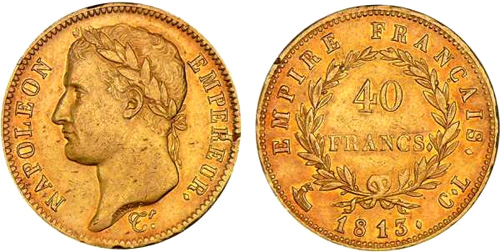 40 Francs or 1809 au revers EMPIRE