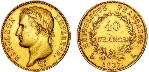 40 Francs or 1807 au revers REPUBLIQUE