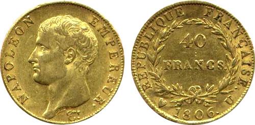 40 Francs or 1806 Napoleon Ier tete nue