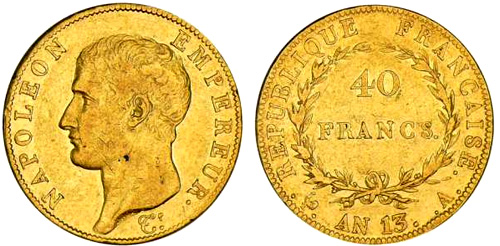 40 Francs or An 13  Napoleon Empereur