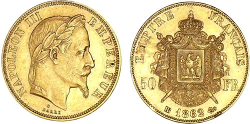 50 Francs or 1865 Napoleon III tete lauree