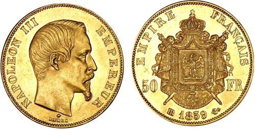 50 Francs or 1859 Napoleon III tete nue