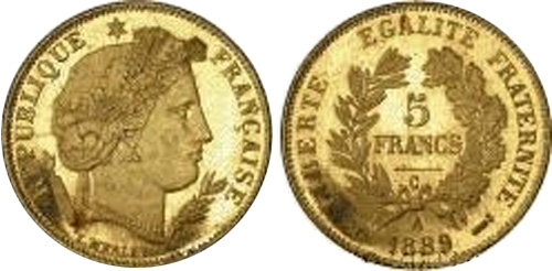 5 Francs or 1889 Ceres