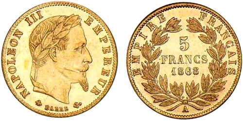 5 Francs or 1867 Napoleon III tete lauree