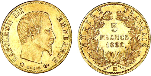 5 Francs or 1860 Napoleon III grand module