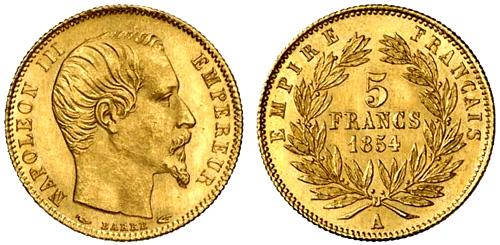 5 Francs or 1855 Napoleon III petit module